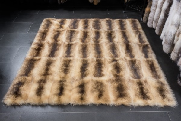Raccoon Fur Carpet in beige