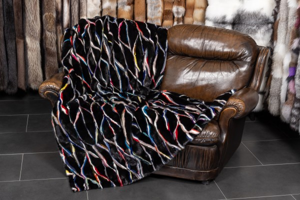 Real Fur Blanket in multicolour