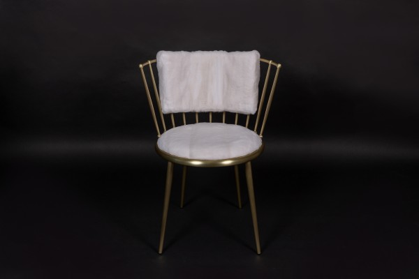 Chair with Plucked White Mink