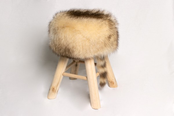 Pine-Wood Stool made with Genuine Canadian Raccoon Fur
