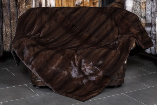 Mink Fur Blanket with plucked Mink Back Lining