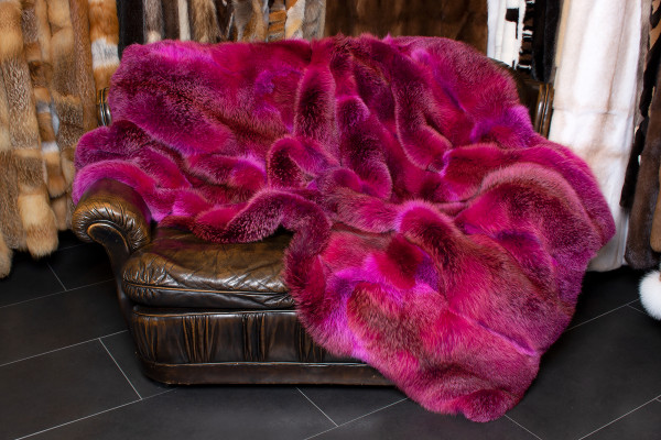 European Red Fox Fur Throw in Pink - Dark Type