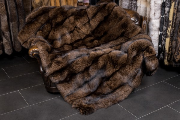 Brown Silver Fox Fur Throw SAGA-Furs