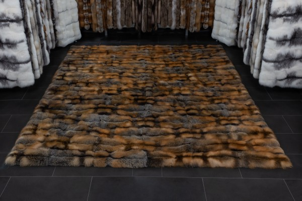 Large Wild Cross Fox Carpet made with Canadian Foxes