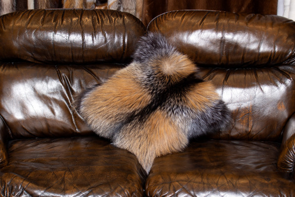 Genuine Smokey Fox Fur Pillow