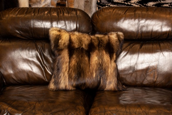 Dark Fitch Fur Cushion from Real Fur