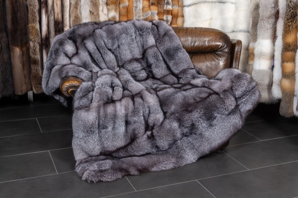 Blue Frost Fox Blanket with Plucked Mink Backing