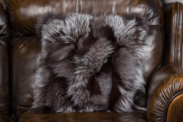 Fur pillow made of silver fox fur sides