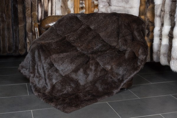 Rabbit Fur Blanket dark brown
