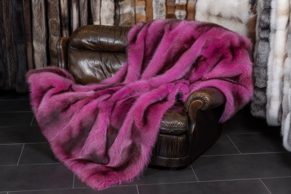 Pink Raccoon Fur Blanket made with Canadian Raccoons