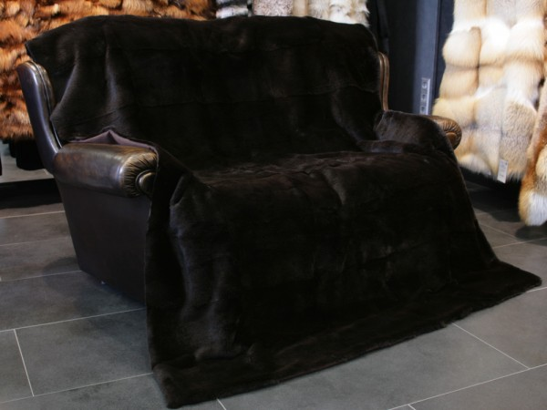 Shorn Rabbit Fur Rug - Colour: Brown