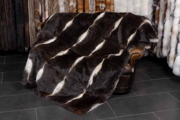 Real Fur Blanket made with gray-black rabbits