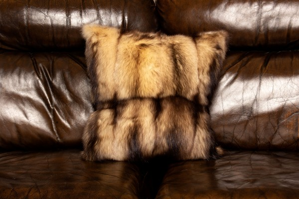 Light Canadian Fitch Fur Pillow in Beige