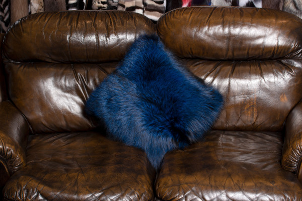 Genuine Silver Fox Fur Pillow in Blue