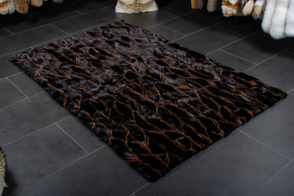 Genuine Fur Mink Fur Carpet in Brown Black