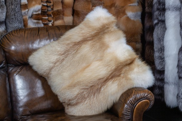 Fur Pillow European Red Fox Creme