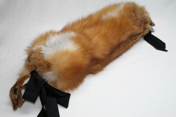 Natural red fox fur bolster