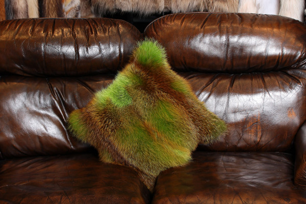Real Red Fox Fur Pillow in Green