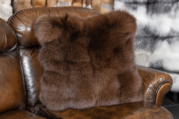 Arctic Frost Fox Pillow in Maroon
