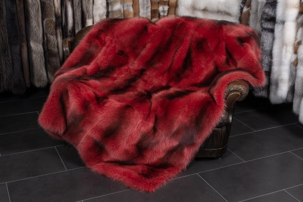 Canadian Raccoon Fur Throw in Red