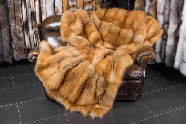 Canadian Red Fox Fur Throw with Rabbit Fur Lining