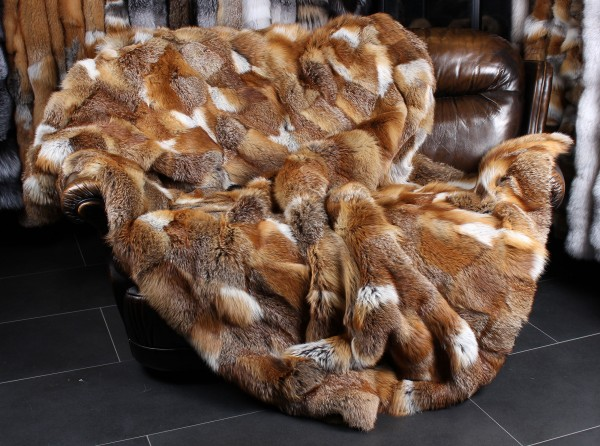 Red Fox Fur Blanket from Europaen Red Foxes