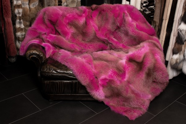 Red Fox Fur Blanket in Pink - Genuine Fox Fur