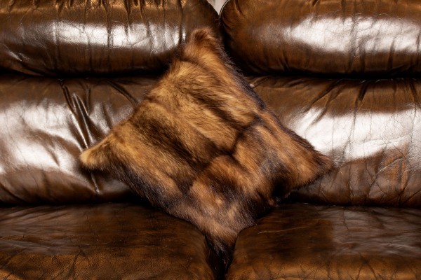 Brown Real Fitch Fur Pillow