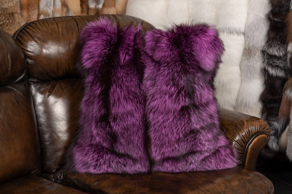 Real Fur Cushion made with Pink Silver Foxes