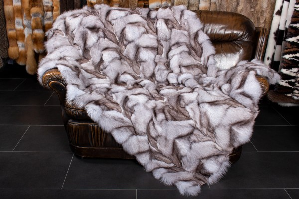 Blue Fox Paw Fur Blanket - Genuine Fur
