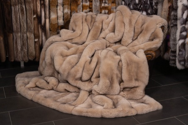 Scandinavian Blue Fox Fur Blanket in Creme Natural Fur
