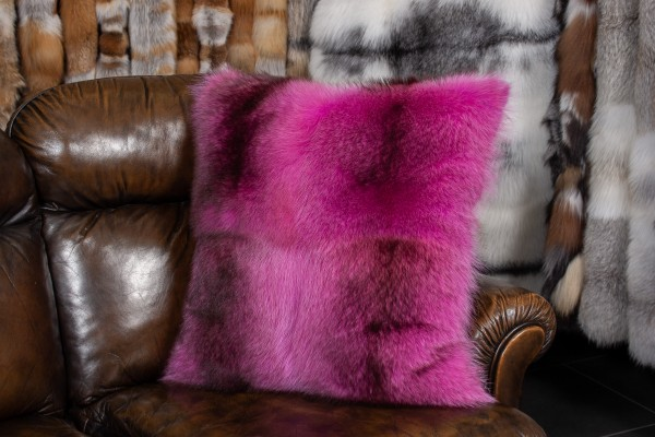 Pink Raccoon Fur Pillow - Real Fur