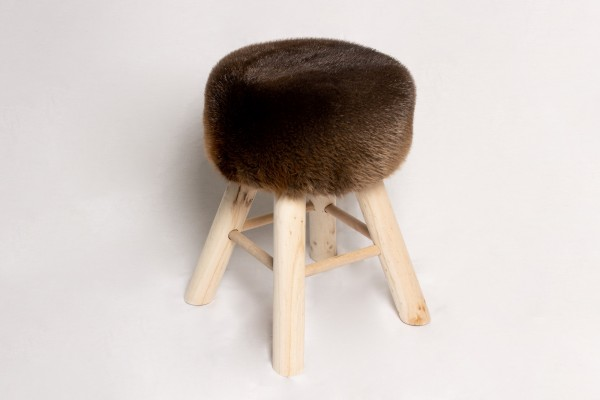 Rustic Real Fur Wood Stool - Canadian Beaver Skins