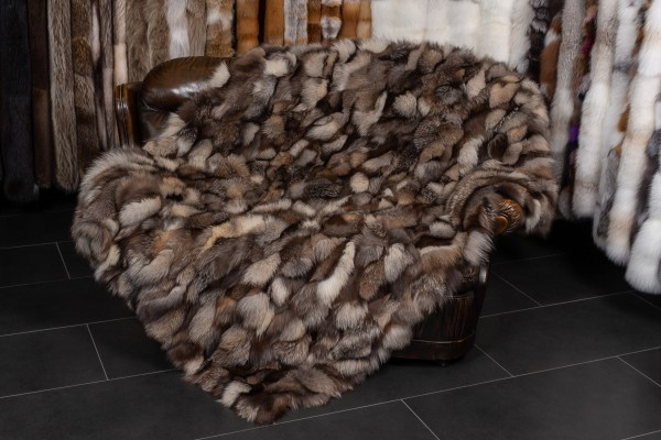 "Real Fur Fox Sides Throw ""Golden Iceberg"""
