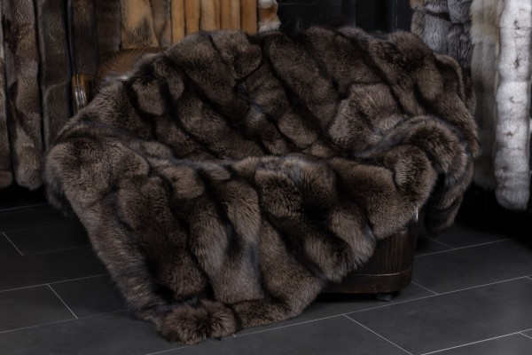 Silver Fox Fur Blanket in brown-gray