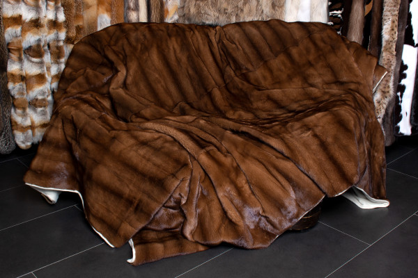 Large Genuine Mink Fur Throw with Cashmere Lining