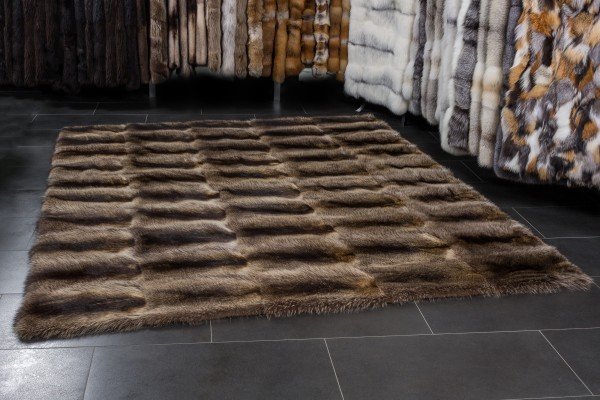 Large Fur Rug made with Canadian Raccoons