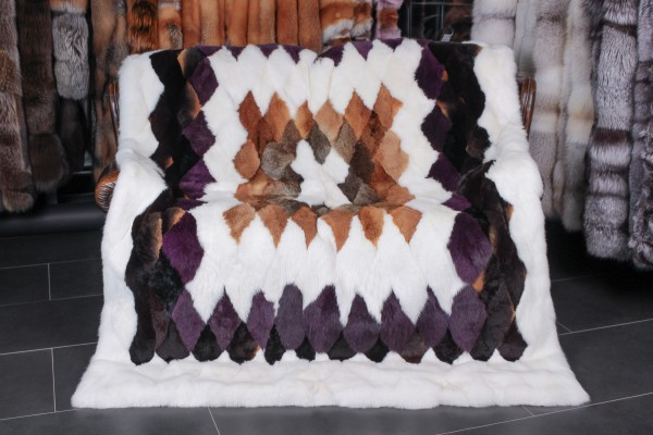 Real Fur Throw made with Rabbit Pelts