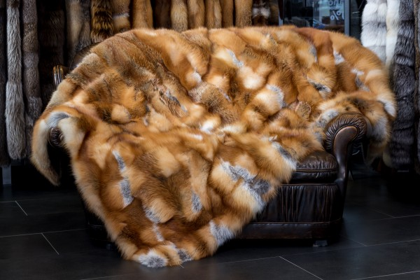 "Red Fox Fur Blanket from Canadian Red Foxes ""Winter Magic"""
