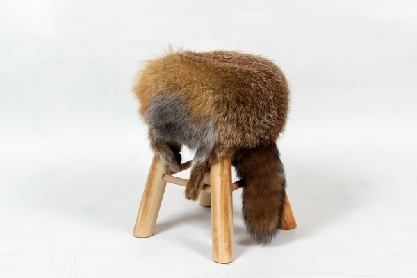 Red Fox Fur Stool with Fox Tail