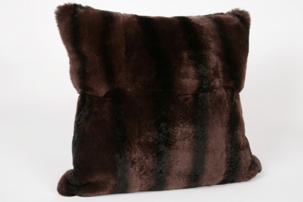 Rex rabbit fur pillow in brown