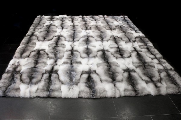 Real Fur Carpet made with Shadow Bluefrost Foxes