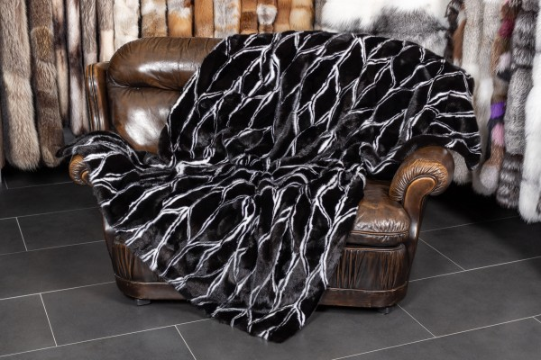 Mink Fur Throw in black & white