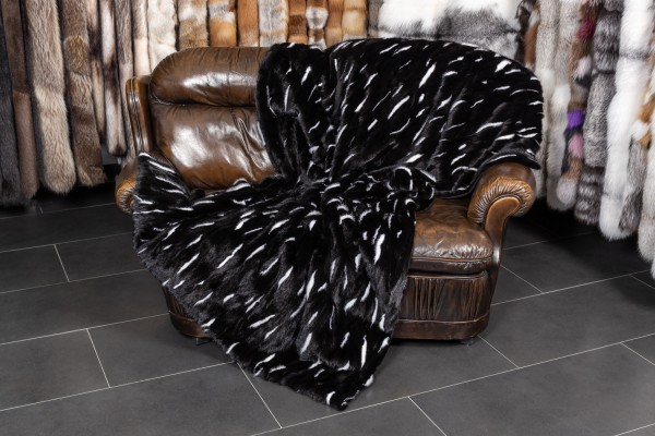 Fur Blanket made with Mink - black & white