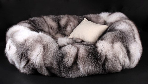 Dog Bed from Scandinavian Shadow Blue Frost Foxes (SAGA Fur)