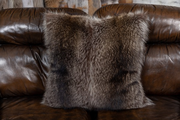 Racoon Fur Cushion with Fur on both sides