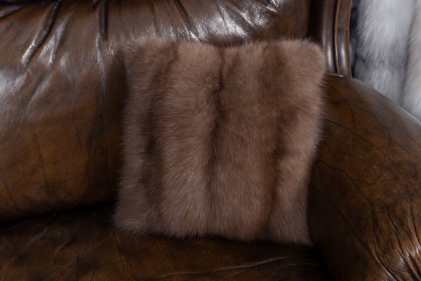 Small Bargusin Sable Fur Cushion - Real Fur