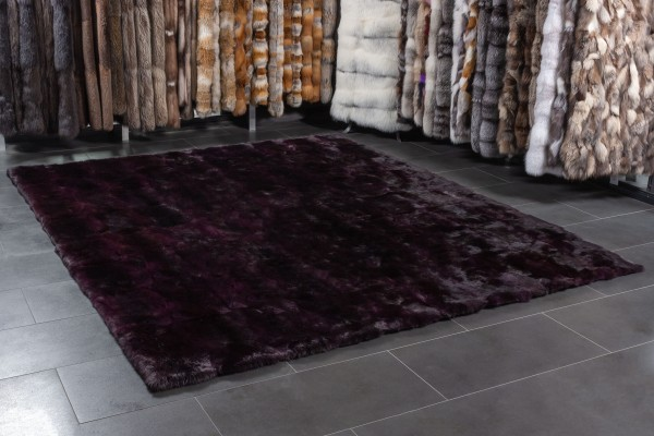 Real Fur Rabbit Carpet in Purple